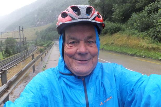 Met regen de St Gotthard af