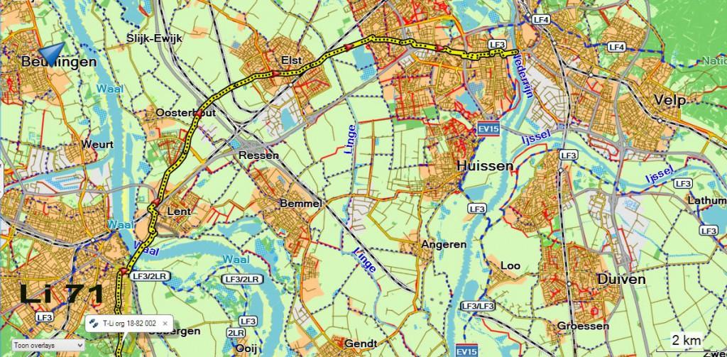 laatste route kaart van Nijmegen naar Arnhem.